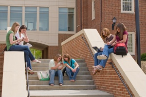 Students texting outside school
